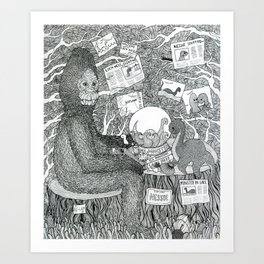 Black and White Sasquatch Art Print