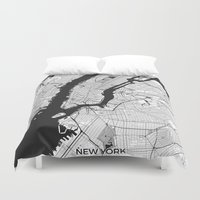 new york map Duvet Covers featuring New York Map Gray by City Art Posters
