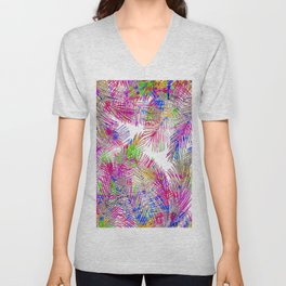 Modern pink hand painted watercolor palm trees  Unisex V-Neck