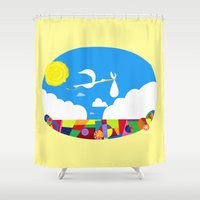 nursery Shower Curtains featuring Disney's Pixar's UP! Nursery Art by foreverwars