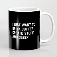beach Mugs featuring I just want to drink coffee create stuff and sleep by WORDS BRAND™