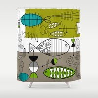 mid century modern Shower Curtains featuring Mid-Century Modern Fish Art by Kippygirl