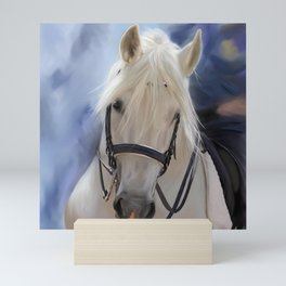 Painted White Horse head Mini Art Print
