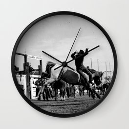 Rodeo Riders at the 1940 Calgary Stampede - Cow-boys de rodéo au Stampede de Calgary de 1940  Wall Clock