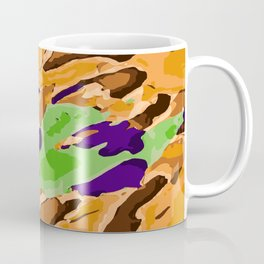 brown purple and green camouflage graffiti painting abstract background Coffee Mug
