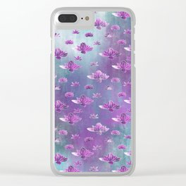 Painted Lotus Pond Clear iPhone Case