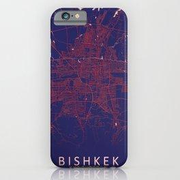 Bishkek, Kyrgyzstan, Blue, White, City, Map iPhone Case