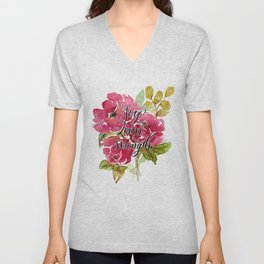 Joy of the Lord Watercolor Floral Unisex V-Neck