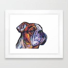 Fun English Bulldog Dog Portrait bright colorful Pop Art Painting by LEA Framed Art Print