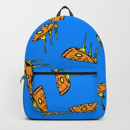 Pepperoni Pizza Dripping Cheese by the Slice Pattern (blue) Backpack