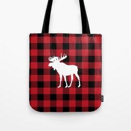 Red Buffalo Plaid Moose Tote Bag