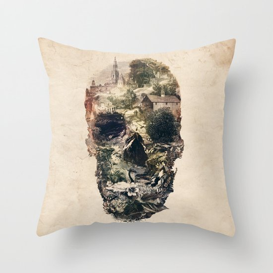 Skull Town Throw Pillow