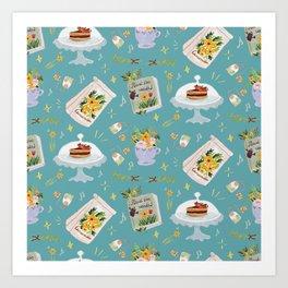 Tea time pastel pattern - tortoise Art Print