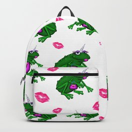 Wannabe Unicorn Frog With Lipstick Kisses Backpack