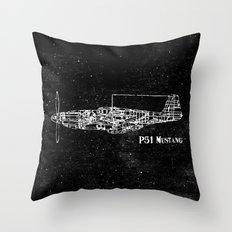 North American P51 Mustang (White) Throw Pillow