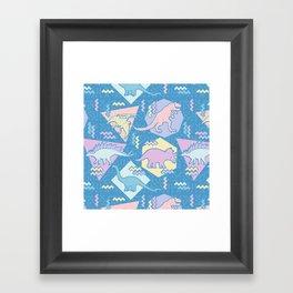 Nineties Dinosaurs Pattern  - Pastel version Framed Art Print
