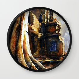 Ta Prohm at Angkor Wat archaeological park- near Siem Reap, Cambodia Wall Clock