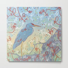 Very Blue Great Blue Heron Metal Print