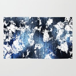 Blue sapphire and opal marbled abstract Rug