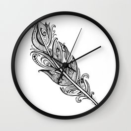 Black & White Feather Wall Clock