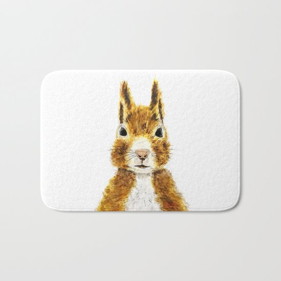 cute little squirrel watercolor Bath Mat