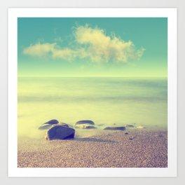 Minimalist misty seascape with rocks at long exposure. Coastal Sunrise. Art Print