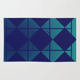 Blue,Diamond Shapes,Square Rug