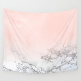 Blush Pink on White and Gray Marble III Wall Tapestry