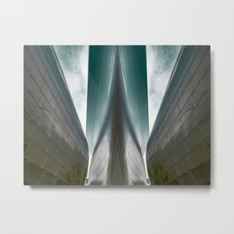 Architectural abstract of a metal clad building looming in symmetry and foreboding Metal Print