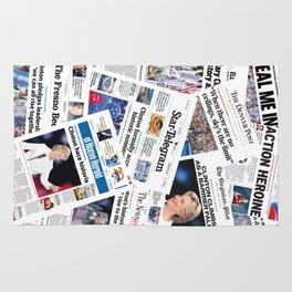 Hillary 2016 Historic Front Pages Rug