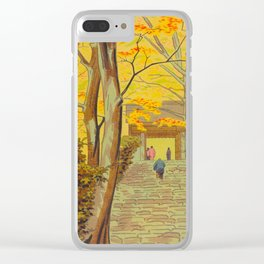 Asano Takeji Japanese Woodblock Print Vintage Mid Century Art Autumn Trees Shinto Shrine Clear iPhone Case
