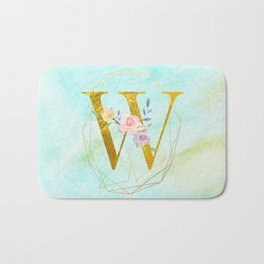 Gold Foil Alphabet Letter W Initials Monogram Frame with a Gold Geometric Wreath Bath Mat