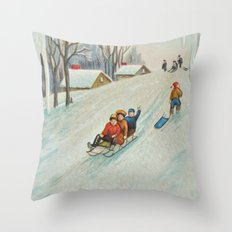 Happy vintage winter sledders Throw Pillow