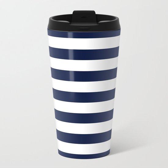 Nautical Navy Blue and White Stripes Metal Travel Mug