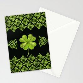 Irish Shamrock Four-leaf clover with celtic decor Stationery Cards