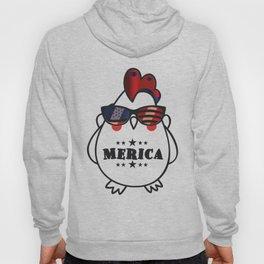 Merica Memorial Day Chicken Funny American Flag Hoody