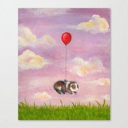 Balloon Ride - Guinea Pig With Balloon Canvas Print