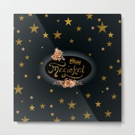 Stay Magical with Gold Glitter Stars Metal Print