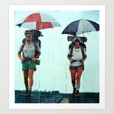 Rain Hiking Art Print