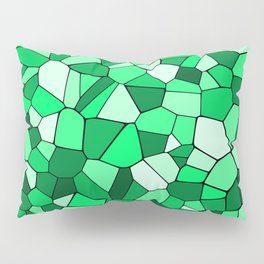 Monochrome Green Mosaic Pattern Pillow Sham