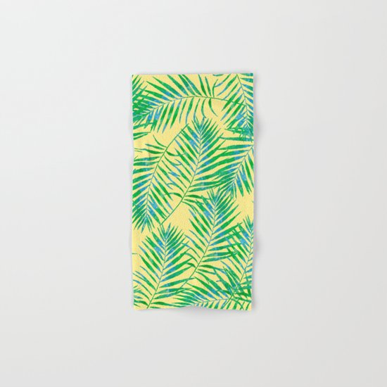 Fern Leaves Yellow Hand & Bath Towel