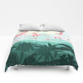 Flamingos flying through the Tropics Comforters