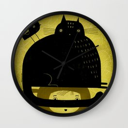 BLACK CAT AND BIRD ON HED Wall Clock