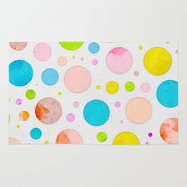 Colored Circles Abstract Sketch , Colorful Sketch, Children Drawing, Doodle Illustration, Wall Art Rug