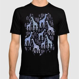 Blue Giraffe Pattern T-shirt