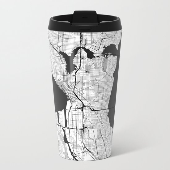 Seattle Map Gray Metal Travel Mug