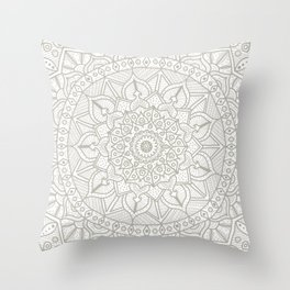 Gray Circle of Life Mandala on White Throw Pillow