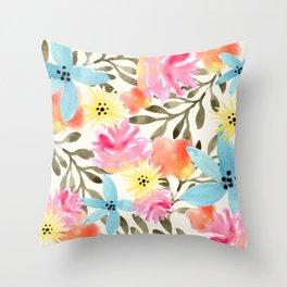 Paradise Floral Print Throw Pillow