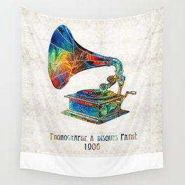 Colorful Phonograph Art by Sharon Cummings Wall Tapestry