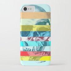Striped Glitch Skull iPhone 7 Slim Case
